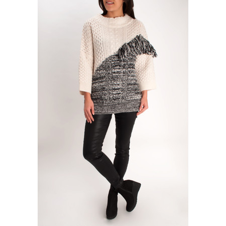 French Connection Fringed Cable Knit Jumper - White
