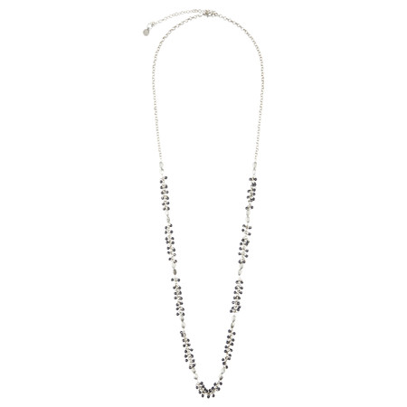 Sandwich Clothing Bead Detail Necklace - Grey