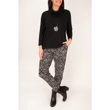 Adini Wild Print Mara Trouser - Black