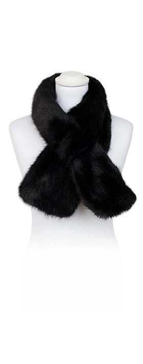 Pia Rossini Monroe Faux Fur Tippet Scarf Black