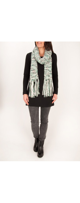Sandwich Clothing Fringe Printed Scarf Cameo Green