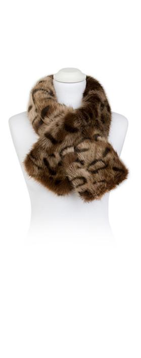 Pia Rossini Monroe Faux Fur Tippet Scarf Ocelot