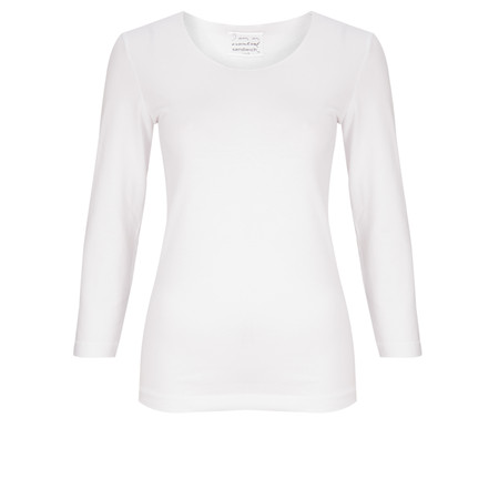 Sandwich Clothing Essential Three Quarter Sleeve T-shirt - White