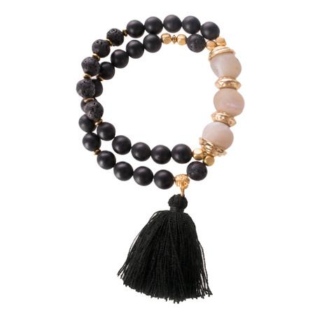 Pranella Tassel Double Bracelet - Black