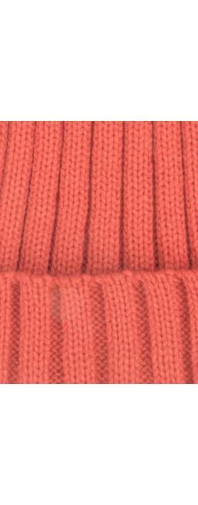 Bitz of Glitz Anna Ribbed Beanie Hat Coral