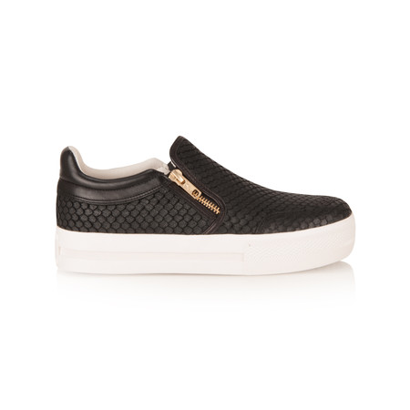 Ash Python Effect Jordy Slip On Trainer Shoe - Black