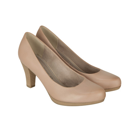 Marco Tozzi Leather Court Shoe - Beige