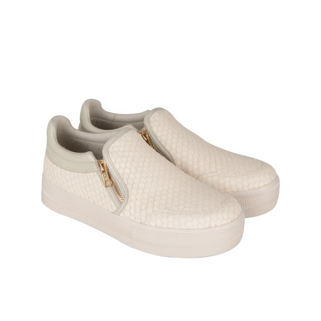 Ash Python Effect Jordy Slip On Trainer Shoe - White