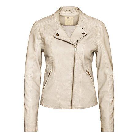 Sandwich Clothing Faux Leather Jacket - Silver Sand