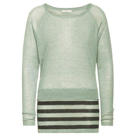 Sandwich Clothing Striped Linen Blend Pullover - Grey Jade