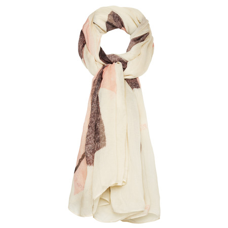 Sandwich Clothing Large Leaf Printed Scarf - Silver Sand