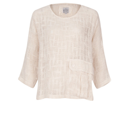 Masai Clothing Open Weave Dagney Top - Off-white