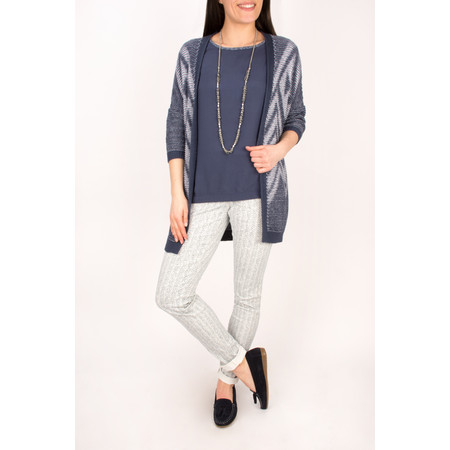 Sandwich Clothing Tape Knitting Cardigan  - Blue