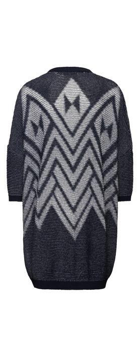 Sandwich Clothing Tape Knitting Cardigan  Mood Indigo