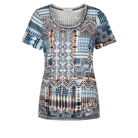 Sandwich Clothing Aztec Printed T-Shirt - Blue