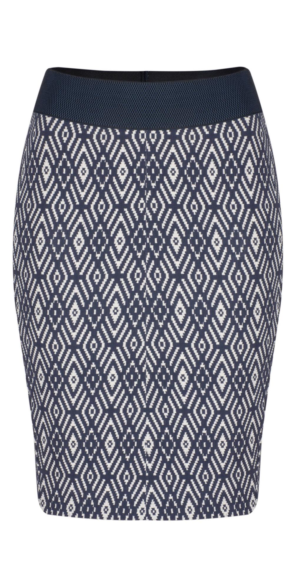 916e3d491b0b2f Sandwich Clothing Diamond Jacquard Stretch Skirt in Mood Indigo