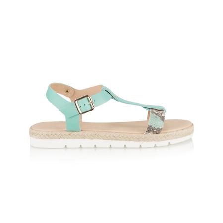Marco Tozzi Leather Snake Effect Sandal - Turquoise