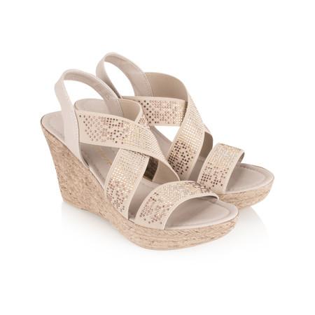 Marco Tozzi Embellished Wedge Sandal - Brown