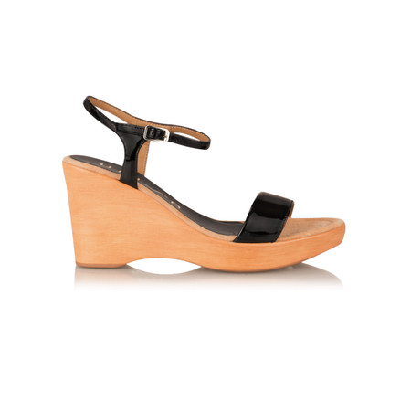 Unisa Shoes Rita Patent Wedge Sandal - Black