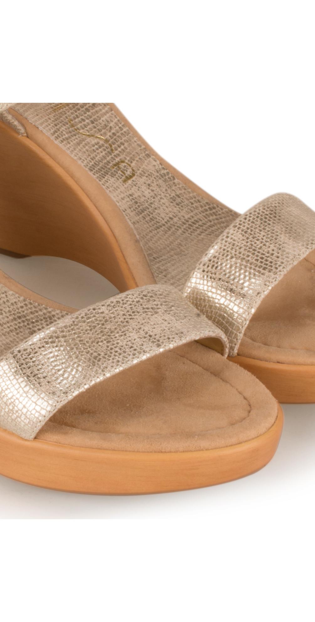 0feadc254 Unisa Shoes Rita Metallic Wedge Sandal in Platino Platinum