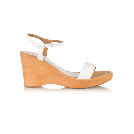 Unisa Shoes Rita Patent Wedge Sandal - White