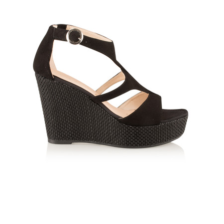 Unisa Shoes Marcos Suede High Wedge Sandal - Black
