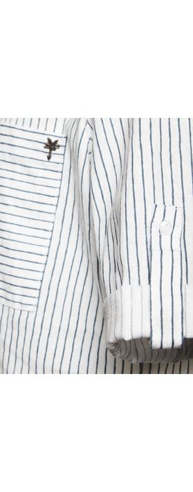 Sandwich Clothing Pin-Stripe Linen Blend Shirt Pure White