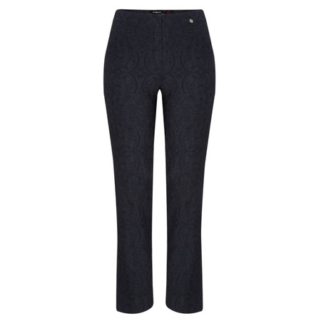 Robell Trousers Marie Jacquard Stretch Trouser - Blue