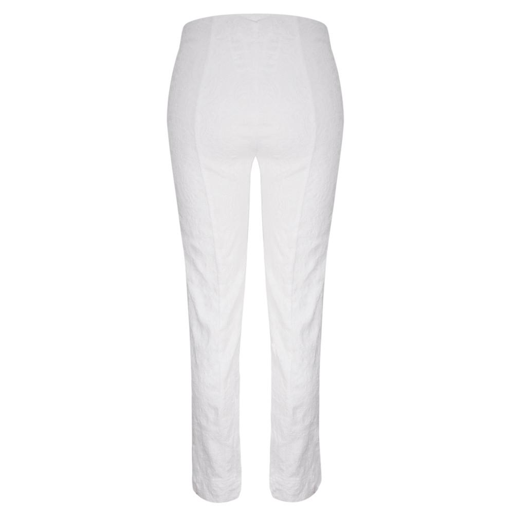 Robell Marie Jacquard White Stretch Trouser White