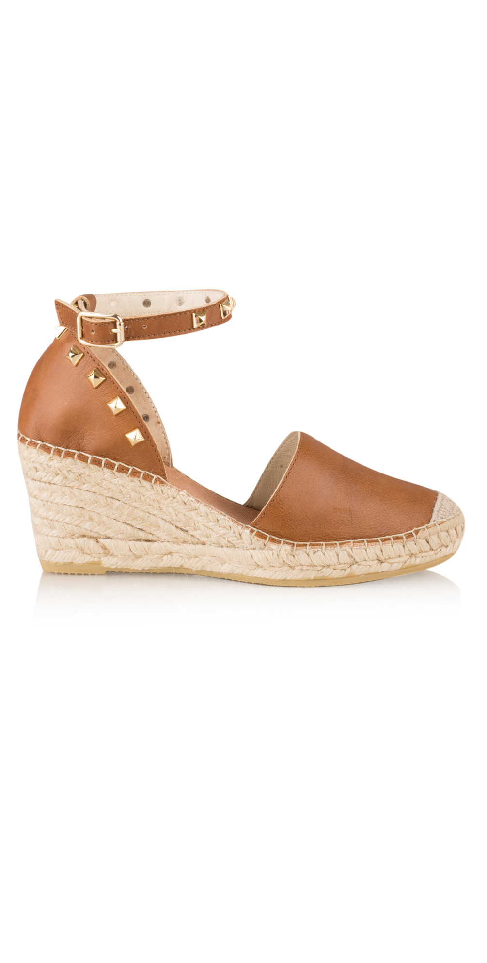 b0b9731349df Vidorreta Rock Stud Leather Wedge Espadrille in Cuero Natural