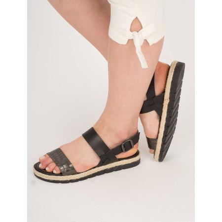 Marco Tozzi Snakeskin Two Tone Leather Sandal - Black