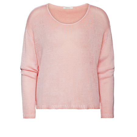 Sandwich Clothing Washed Dye Cotton Blend Pullover - Pink