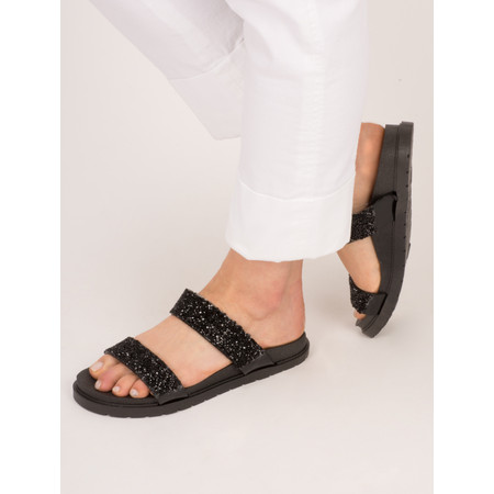 KimShu Sparkle Double Strap Sandal - Black