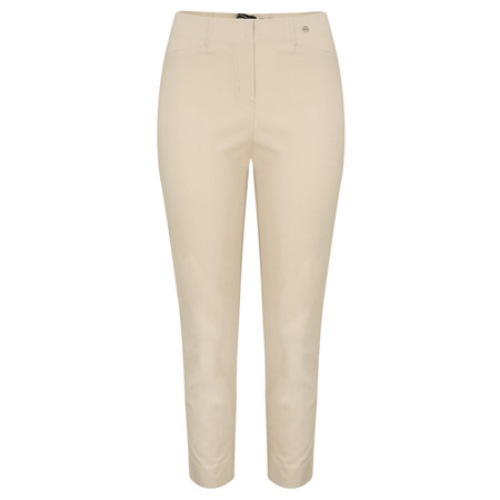 Robell Trousers Rose 09 7/8 Narrow Cropped Trouser - Beige