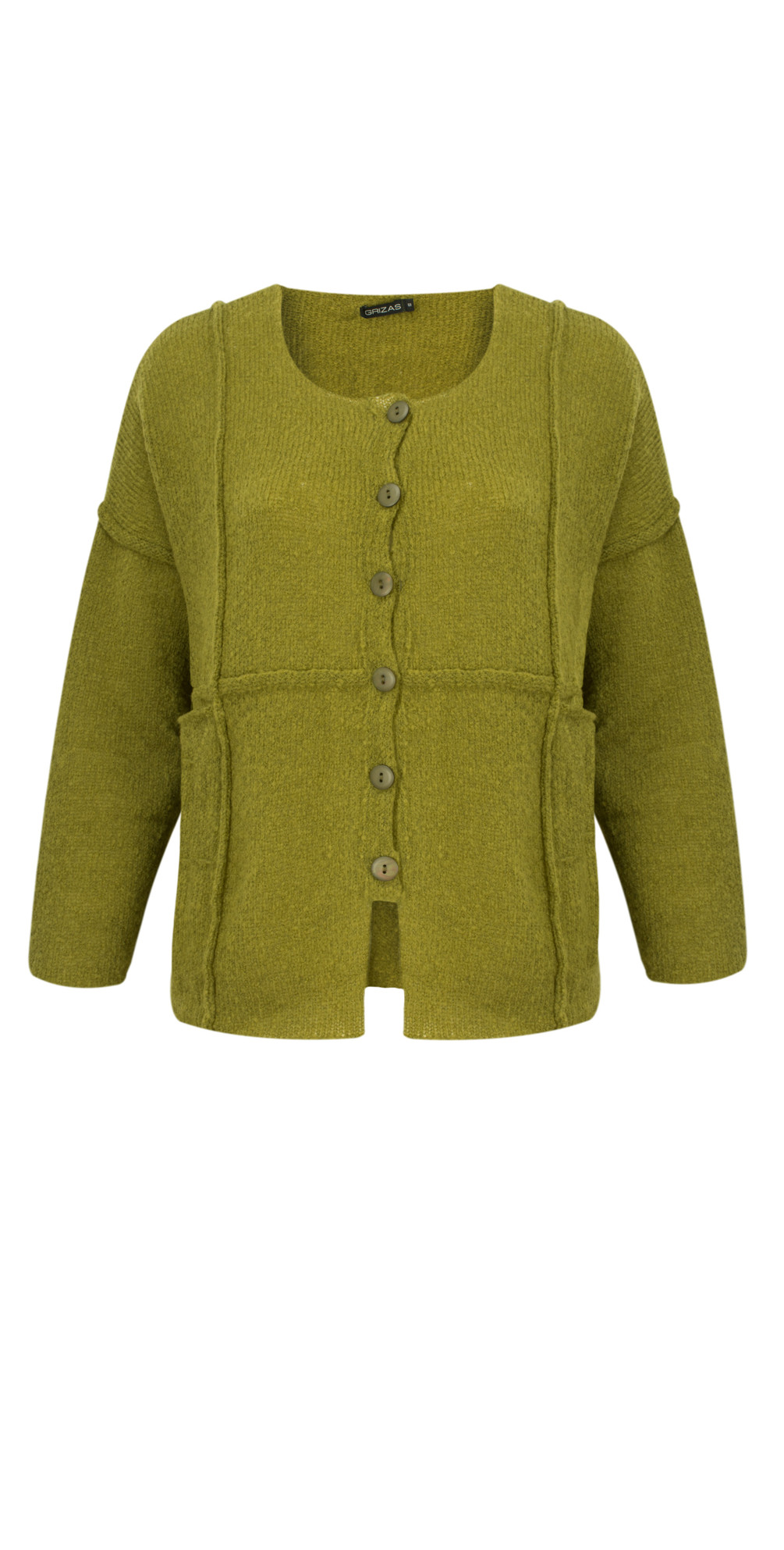 Grizas Hand Knitted Soft Wool Cardigan in Moss