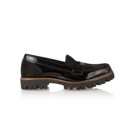 Marco Tozzi Leather Loafer Shoe - Black