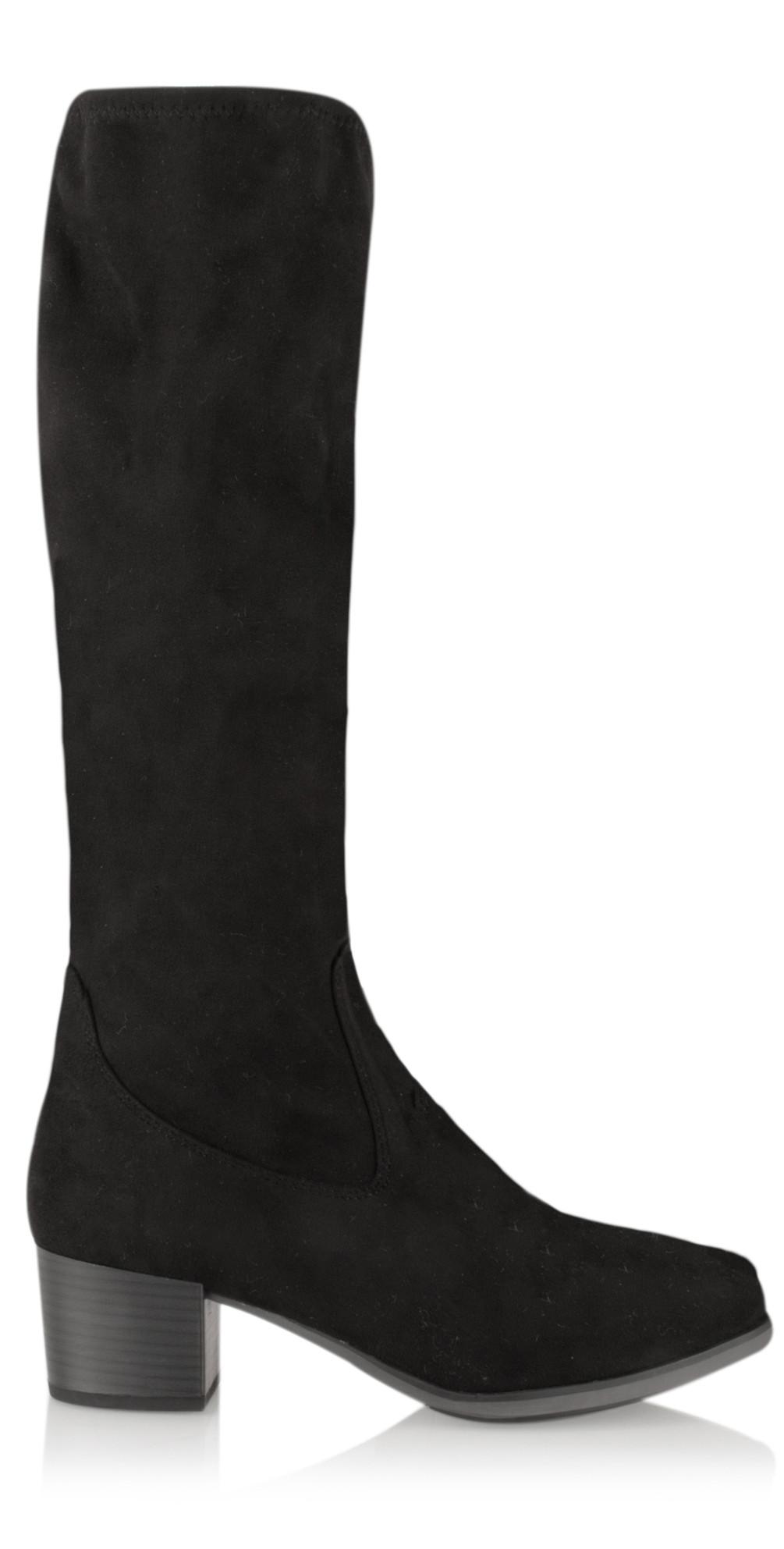 38c6dd288db1 Caprice Footwear Faux Suede Long Stretch Block Heel Boot in Black
