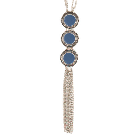 Sandwich Clothing Metal Tassel Necklace - Blue