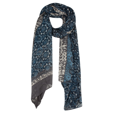 Sandwich Clothing Victoria Weave Morrocan Tile Printed Scarf - Grey
