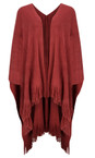 Sandwich Clothing Stone Red Cosy Knitted Poncho Scarf