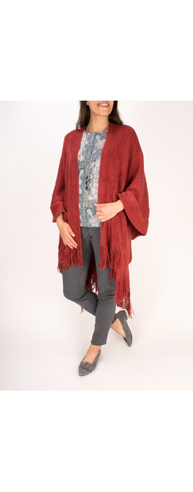 Sandwich Clothing Cosy Knitted Poncho Scarf Stone Red