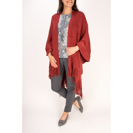 Sandwich Clothing Arcylic Knit Poncho - Red