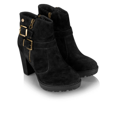 Carmela Suede Buckle Ankle Boot - Black