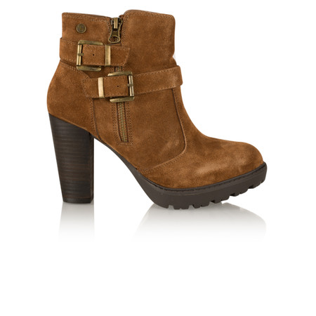 Carmela Suede Buckle Ankle Boot - Brown