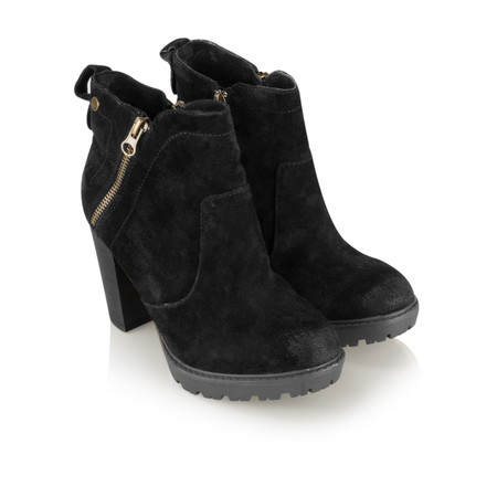 Carmela Suede Zip Ankle Boot - Black