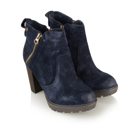 Carmela Suede Zip Ankle Boot - Blue