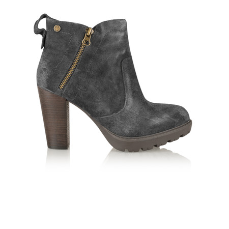 Carmela Suede Zip Ankle Boot - Grey