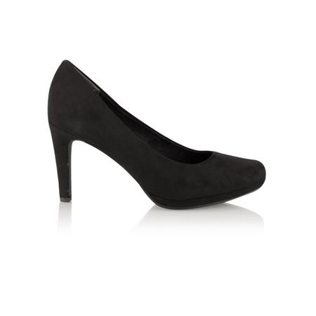 Marco Tozzi Imit Suede Court Shoe - Black