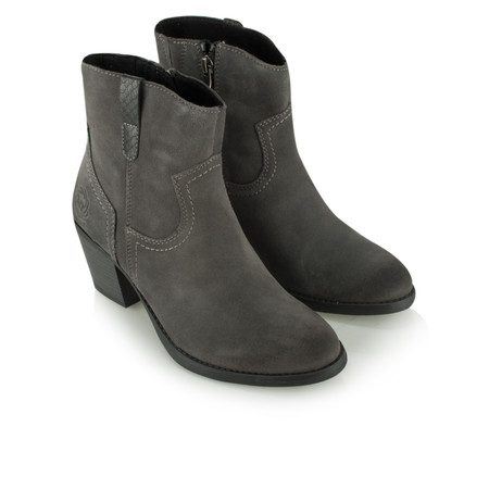 Marco Tozzi Leather Ankle Boot - Grey