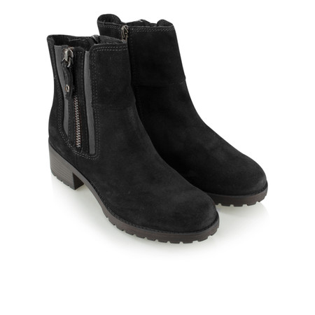 Marco Tozzi Chunky Sole Suede Ankle Boot - Black